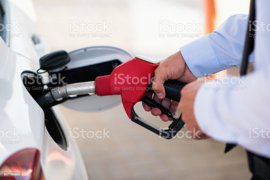 gas station vehicle with quality fuel stock photo