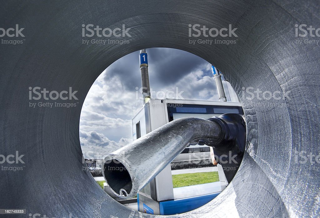 Gas station with blue sky royalty-free stock photo