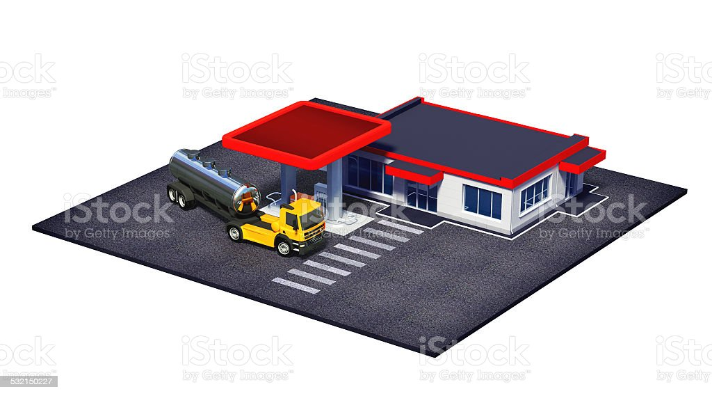 gas station with fuel semi truck stock photo