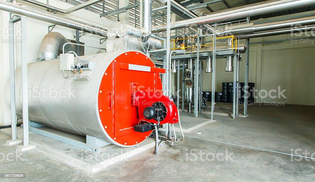 Gas steam boiler stock photo