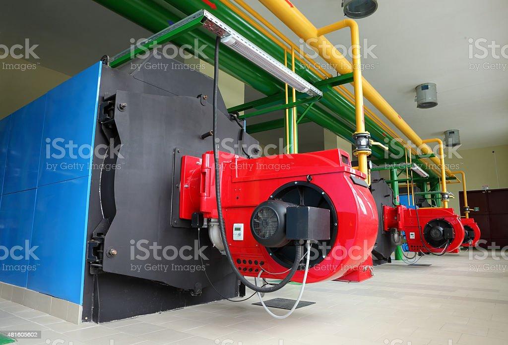 Gas steel boiler room stock photo