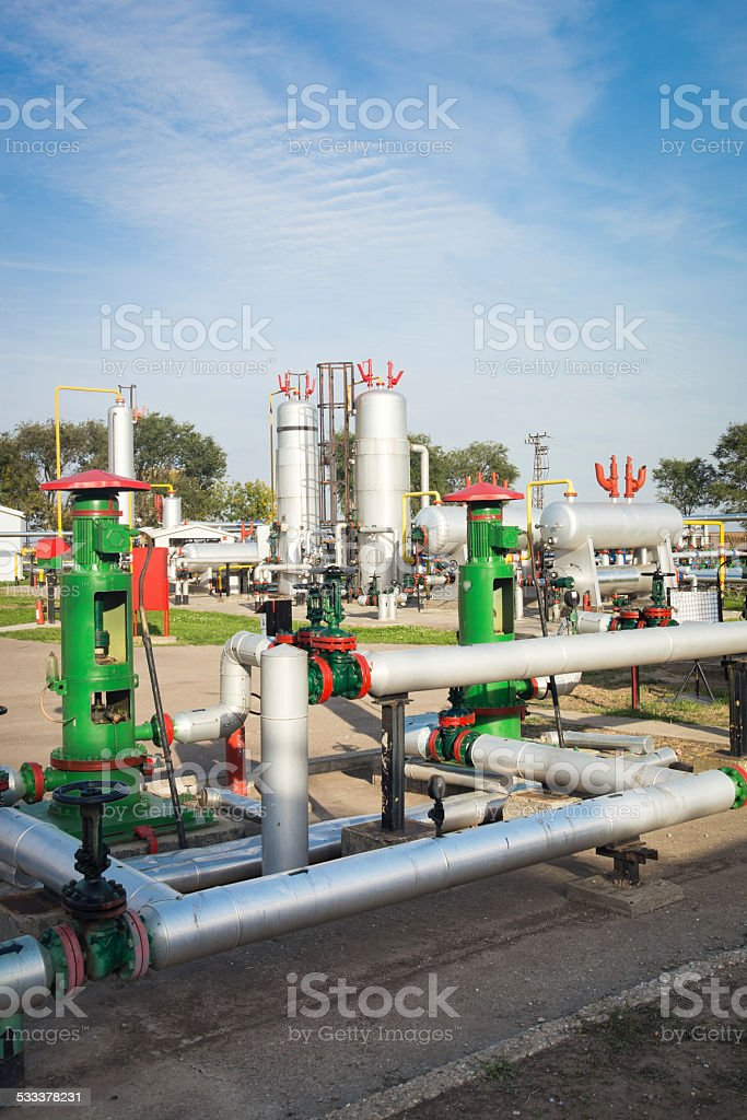Gas storage and pipeline stock photo