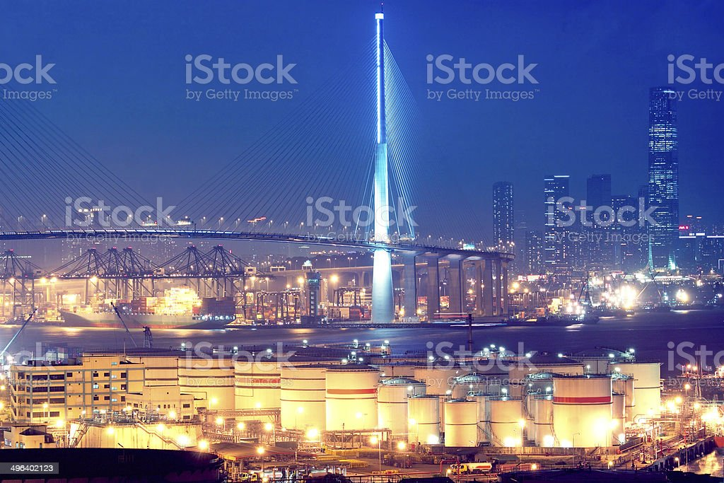 Gas storage spheres tank in petrochemical plant stock photo
