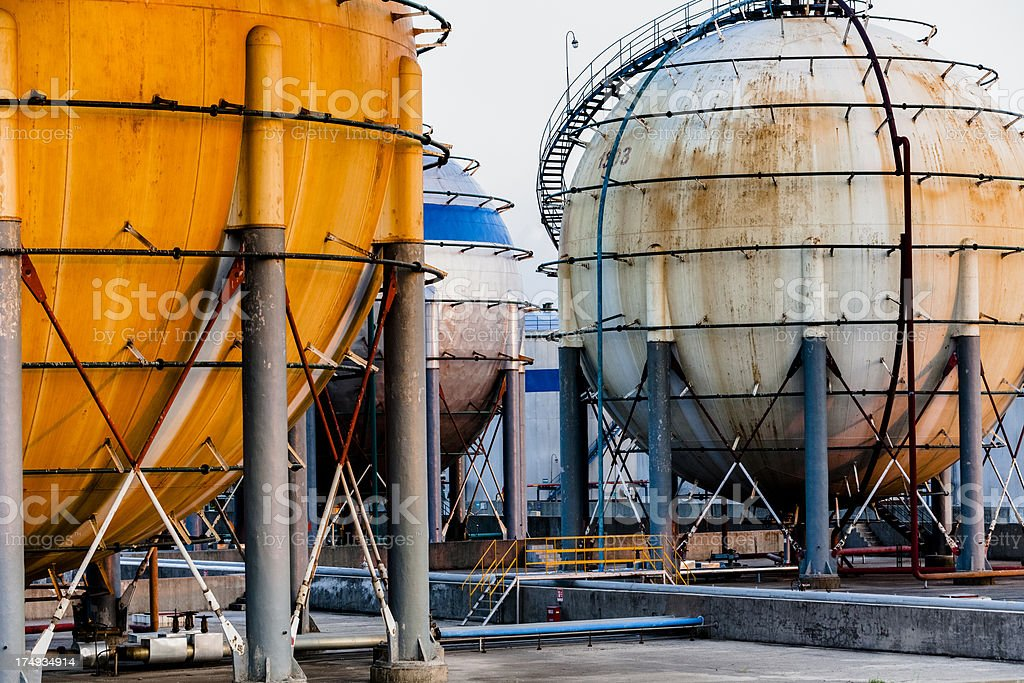 Gas storage tanks stock photo