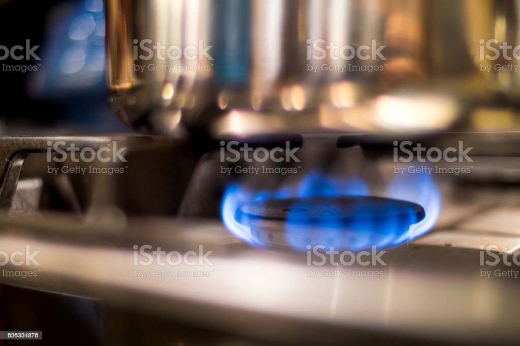Gas Stove Blue Flames stock photo