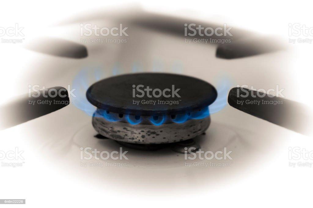 Gas stove burner. Soft focus. stock photo