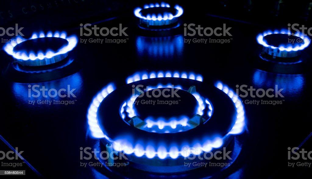 Gas stove dark key stock photo