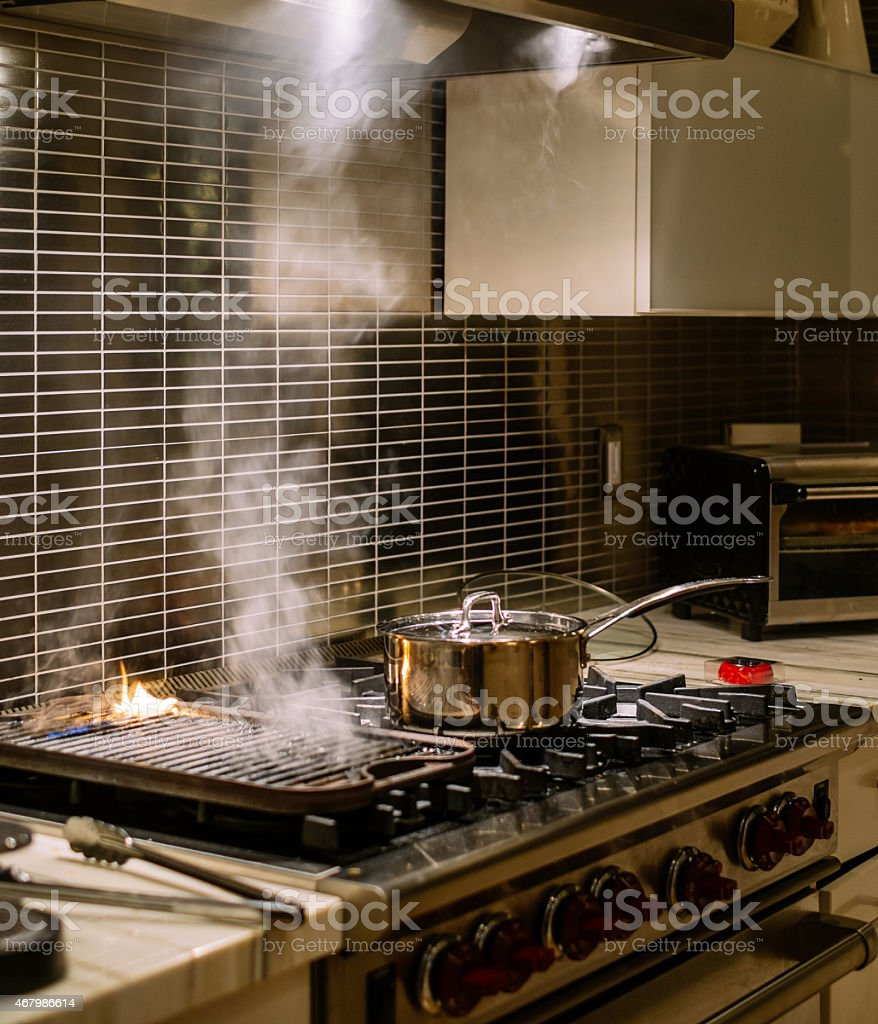 Gas stove grill and burners stock photo