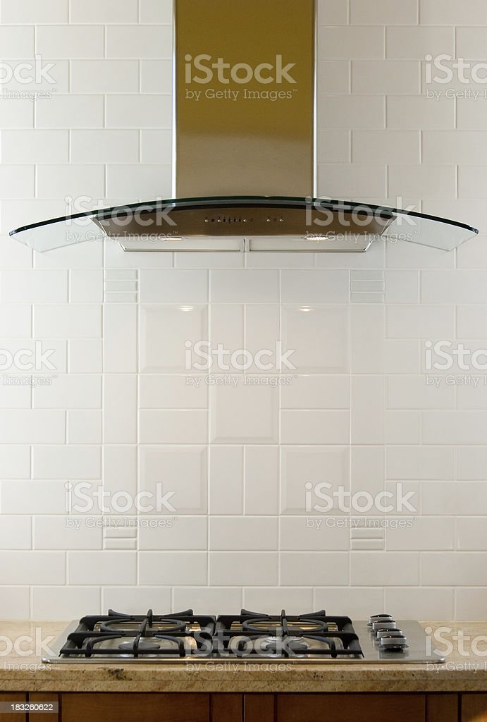 Gas Stove in Brand New Kitchen royalty-free stock photo