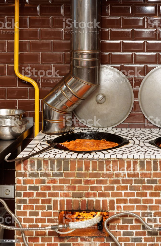 Gas stove in Middle Eastern cuisine restaurant stock photo
