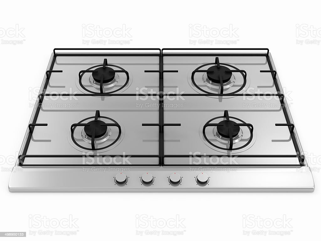 Gas stove isolated on white background stock photo