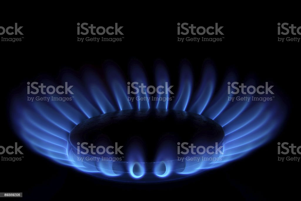 Gas Stove (Blue Flames on Black - Ring of Fire) stock photo