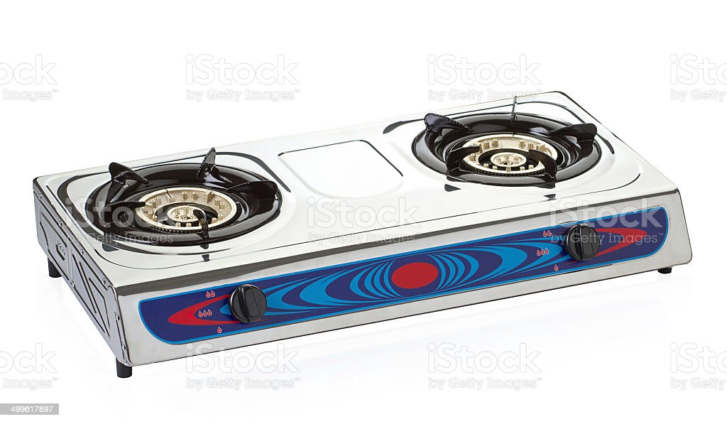 Gas stove the necessary kitchenware isolated stock photo