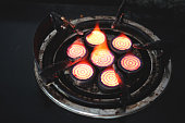 gas stove with fire