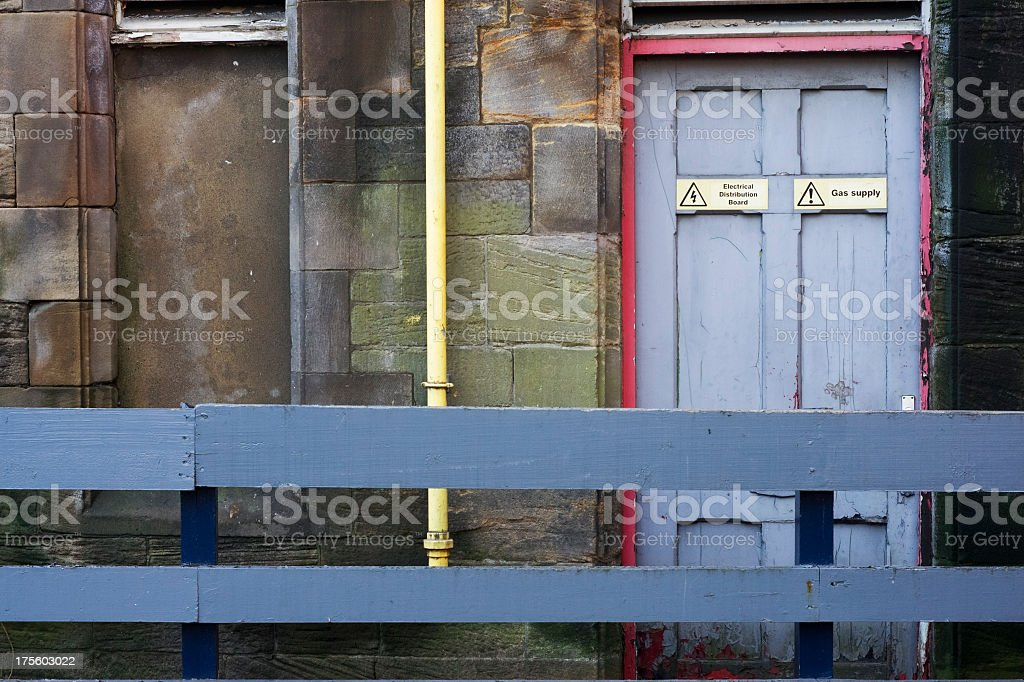 Gas supply - electrical distribution board room stock photo