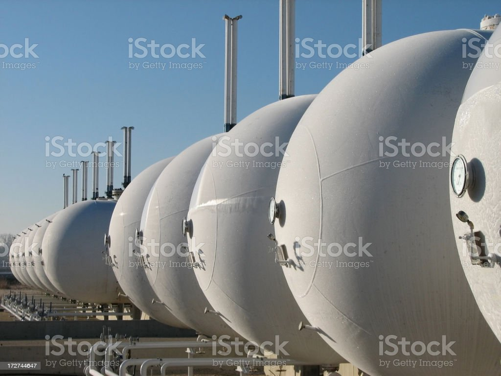 Gas Tanks in Oil Refinery royalty-free stock photo