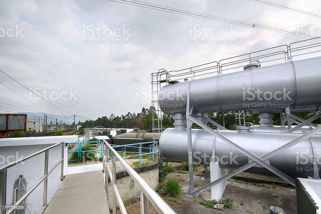 gas tanks in the industrial estate, suspension energy for transp stock photo