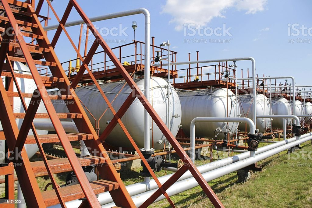 Gas tanks row stock photo