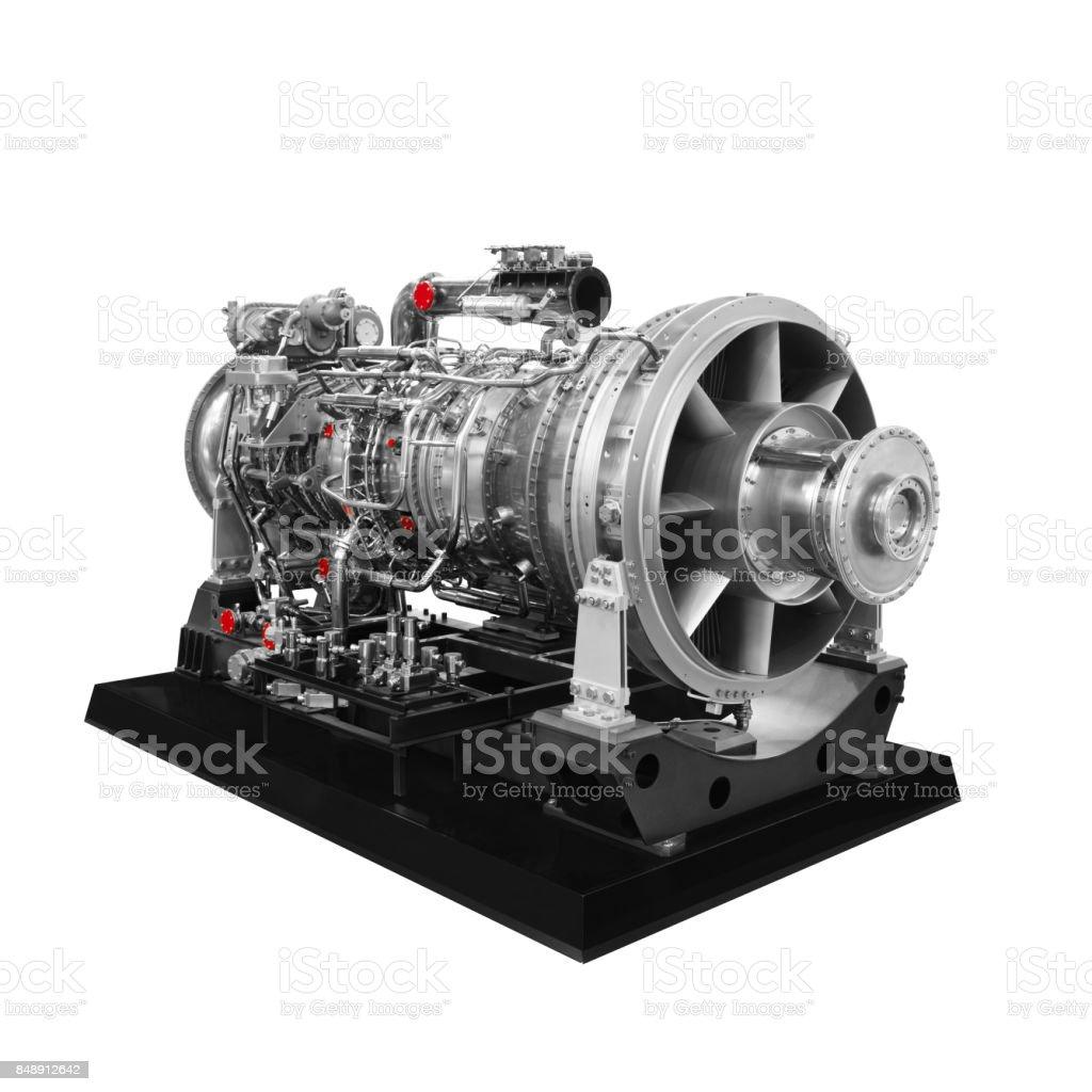 Gas turbine aircraft engine isolated on white background stock photo