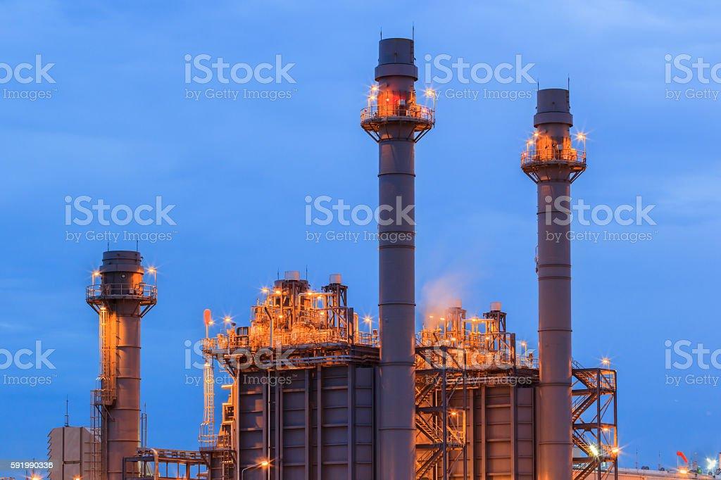Gas turbine electric power plant stock photo