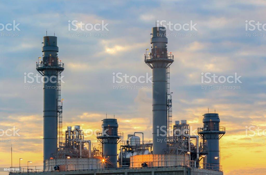 Gas turbine electrical power plant with twilight stock photo