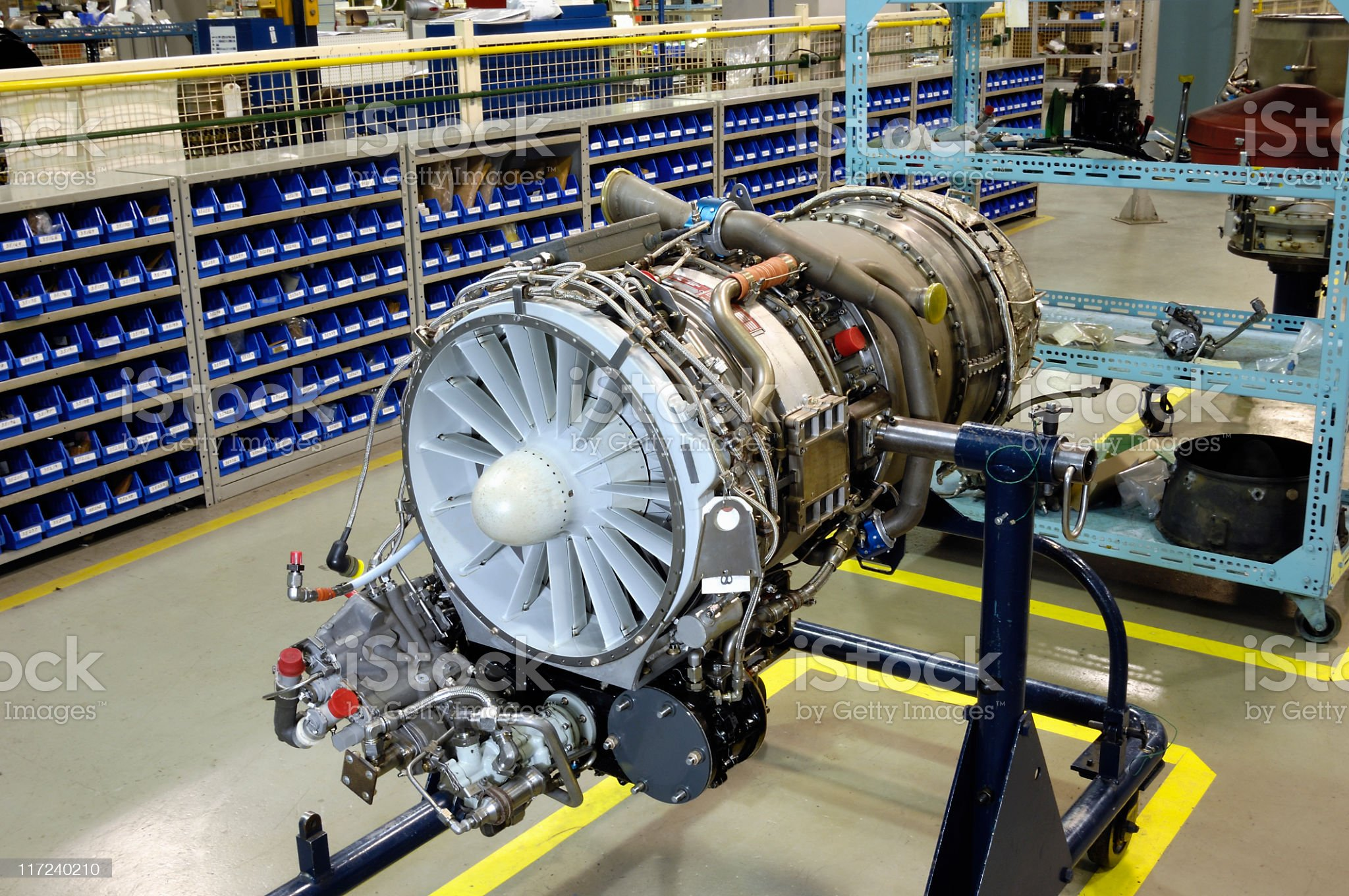 Gas turbine (jet) engine on stand for overhaul royalty-free stock photo