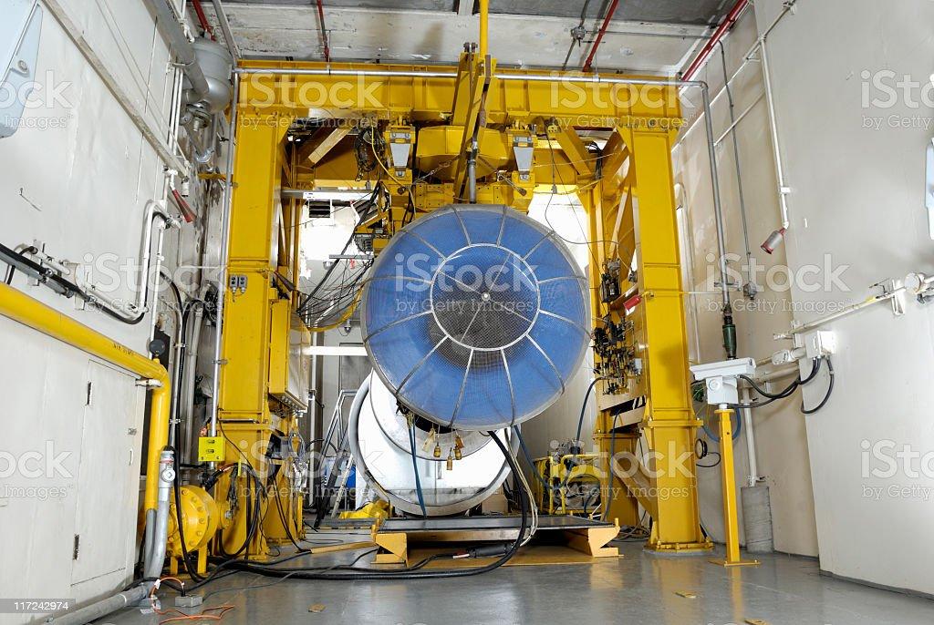 Gas turbine engine test room stock photo