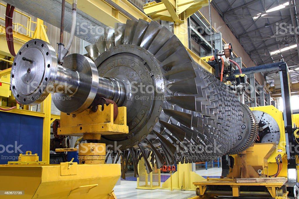 Gas turbine rotor at workshop stock photo