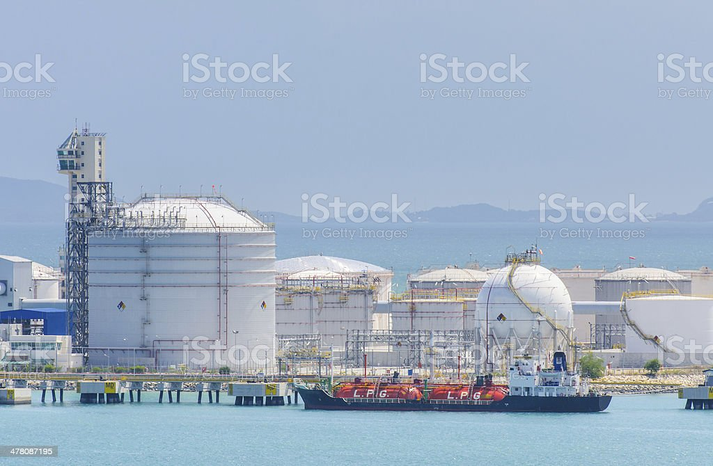 gas-carrier at petrochemical tank farm and jetty royalty-free stock photo