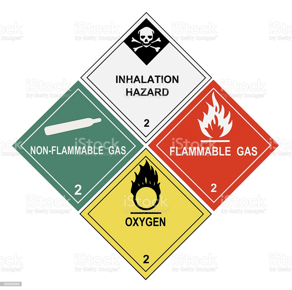 Gases Warning Labels stock photo