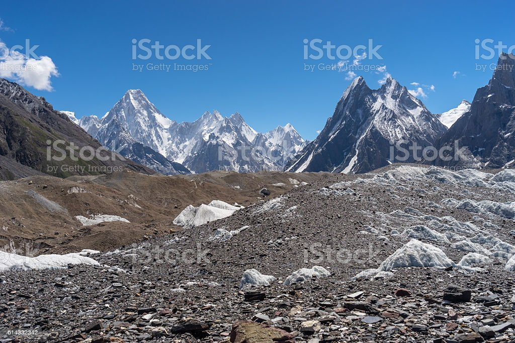 Gasherbrum massif and Mitre peak mountain, K2 trek stock photo