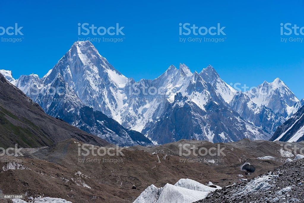 Gasherbrum massif moutain with many peak, Skardu, Gilgit, Pakistan stock photo