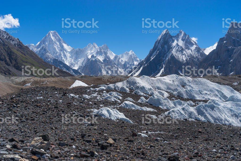 Gasherbrum mountain massif and Mitre peak, K2 trek, Gilgit Baltistan, Pakistan stock photo