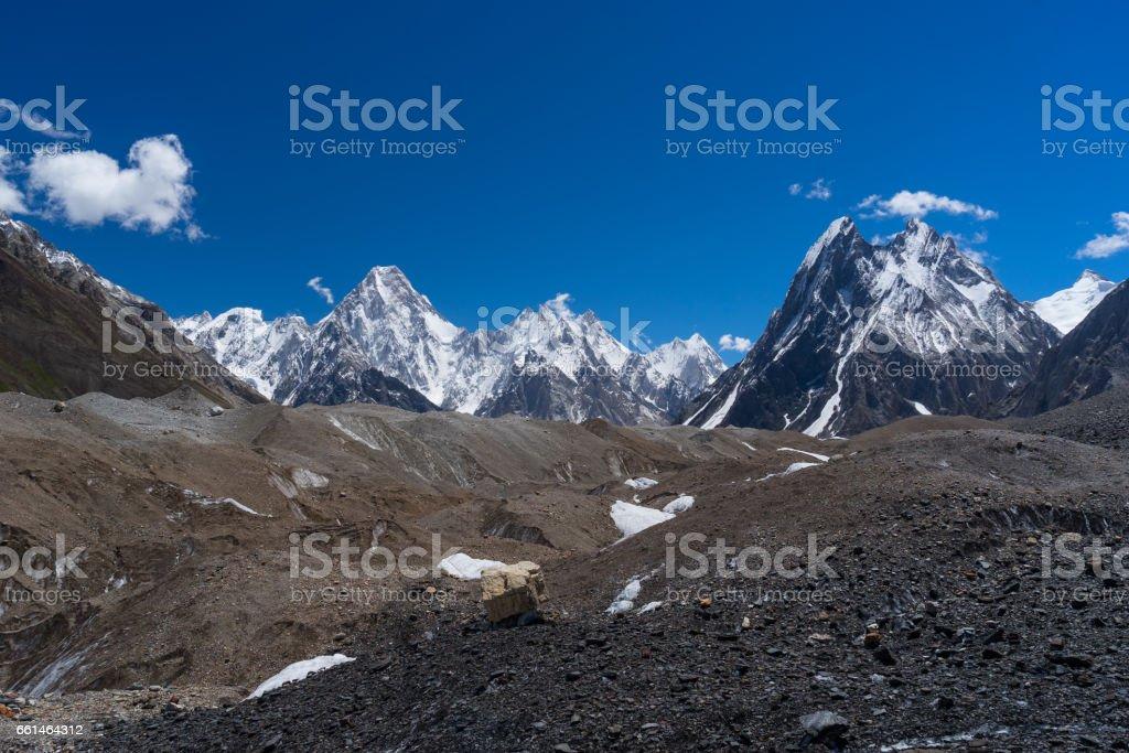 Gasherbrum mountain massif and Mitre peak, K2 trek, Pakistan stock photo