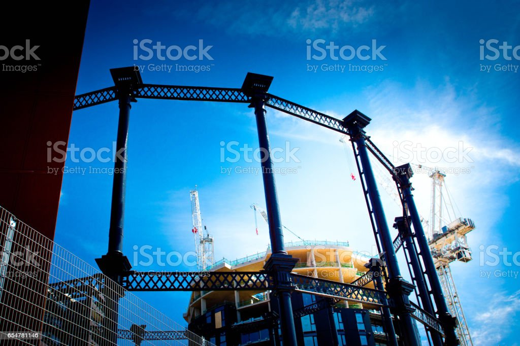 Gasholder construction near Kings Cross stock photo