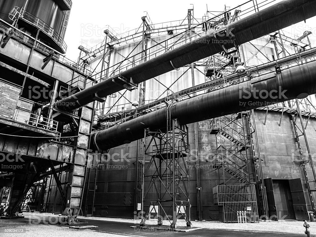Gasholder in the industrial zone stock photo