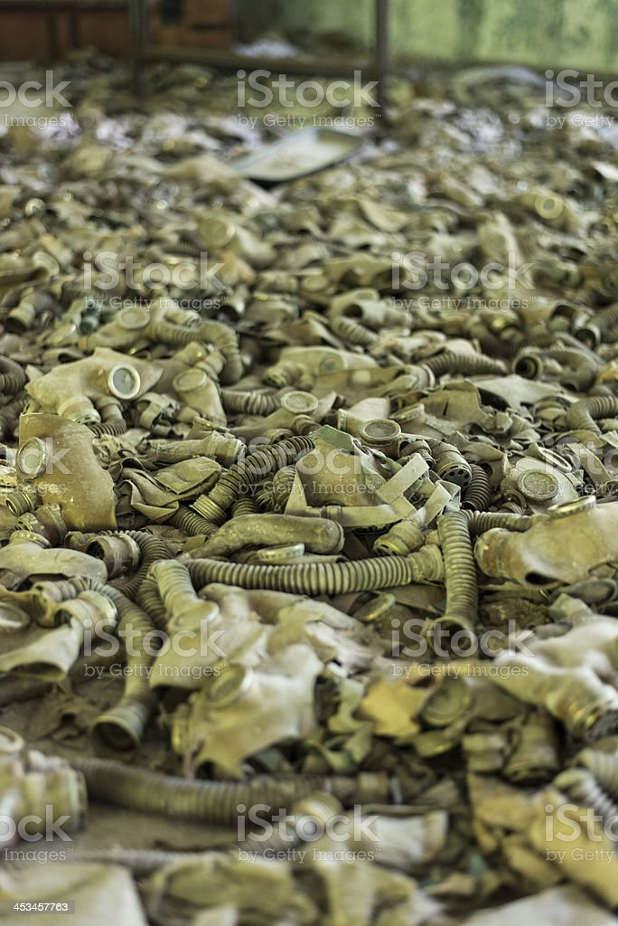 Gask masks in piles (Chernobyl/Pripyat) royalty-free stock photo