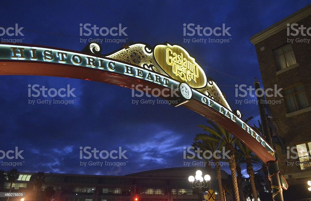 Gaslamp quarter in San Diego welcome sign stock photo