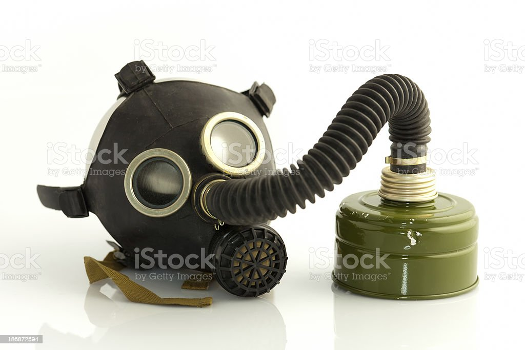 Gasmask with filter isolated on white stock photo