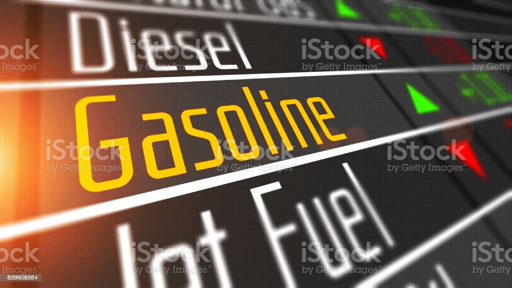 Gasoline as commodity on the stock market. stock photo