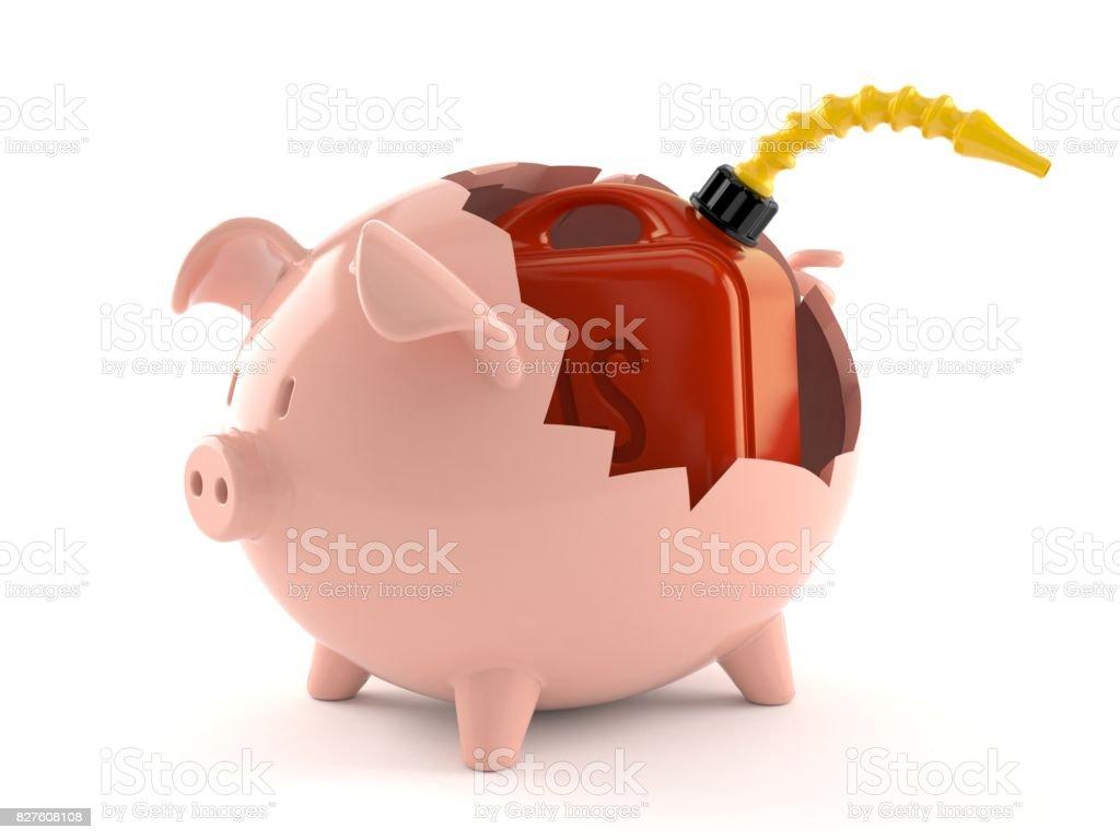 Gasoline can inside piggy bank stock photo