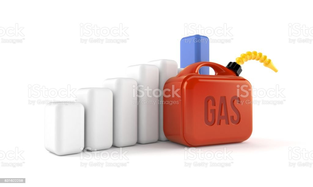 Gasoline can with chart stock photo