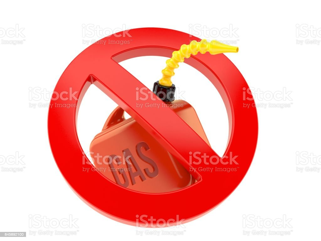 Gasoline can with forbidden symbol stock photo