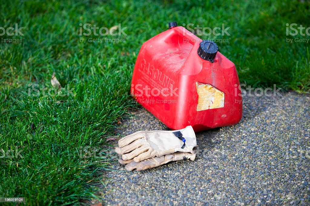 Gasoline Can With Gloves stock photo