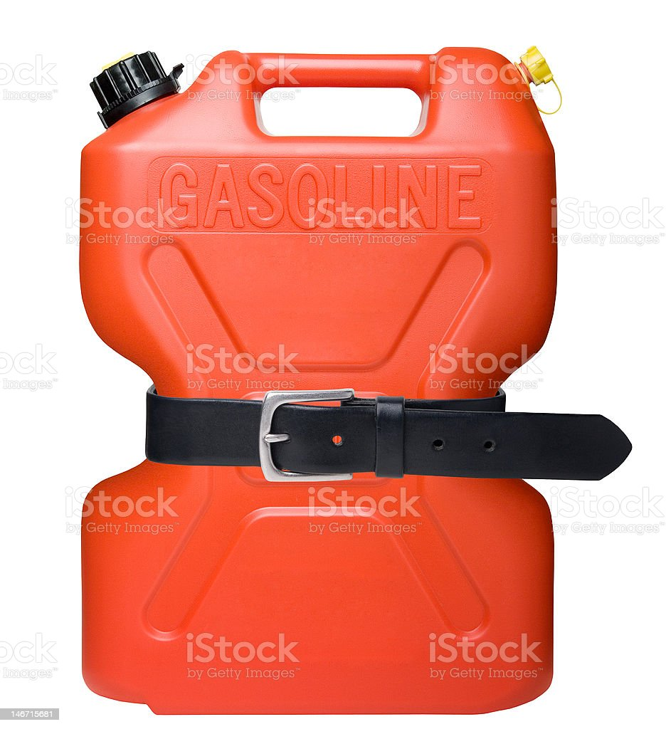 Gasoline Can with Tightened Belt royalty-free stock photo