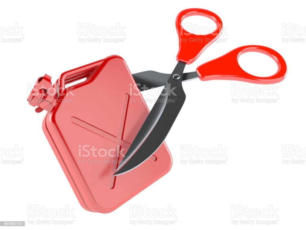 Gasoline canister with scissors stock photo