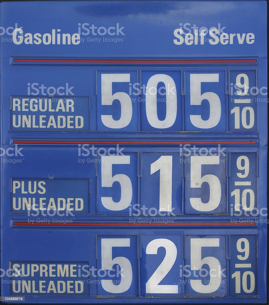 $5 Gasoline Level Shot royalty-free stock photo