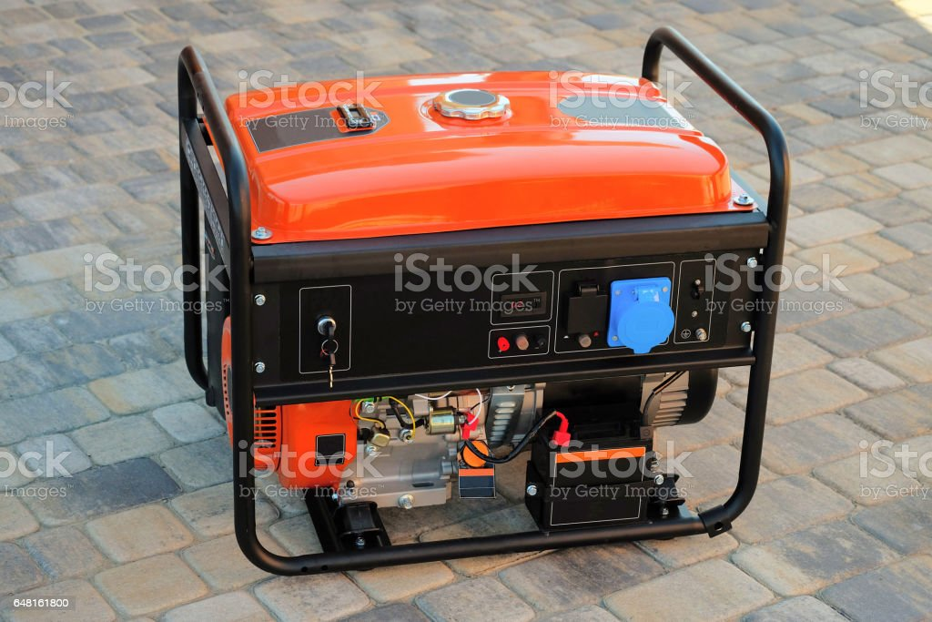 Gasoline portable generator for electric power supplies stock photo