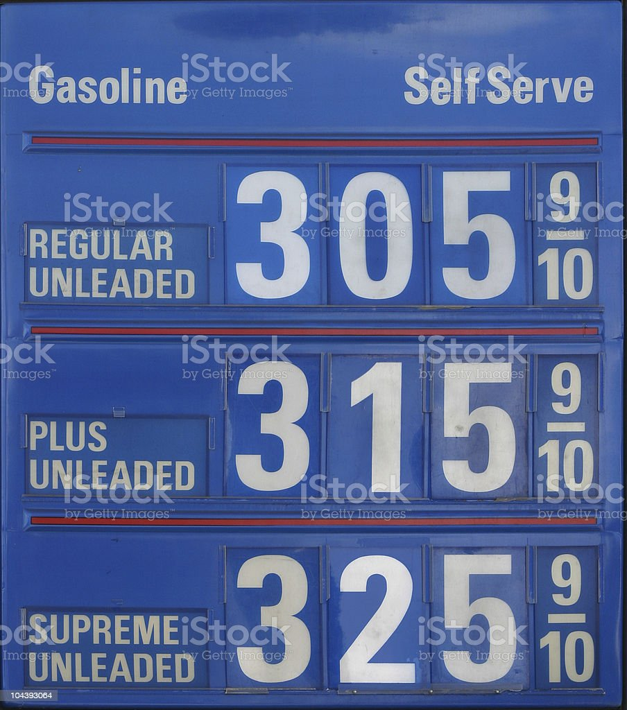 $3 Gasoline Price Sign royalty-free stock photo