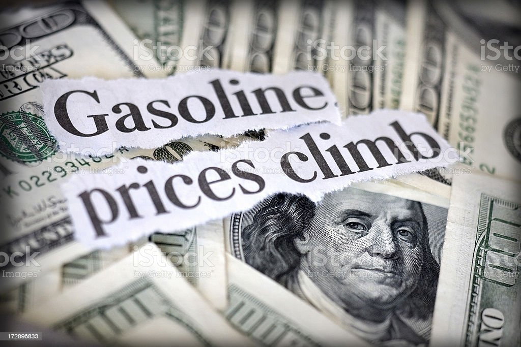 gasoline prices climb royalty-free stock photo